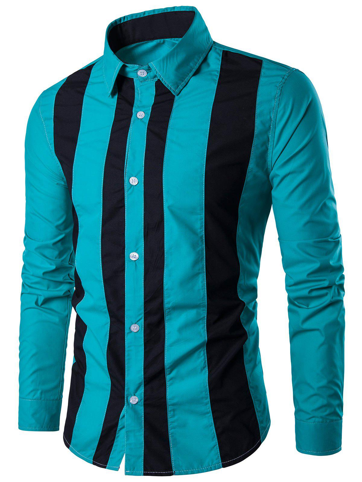 Two Tone Striped Long Sleeve Shirt - BLUE GREEN L