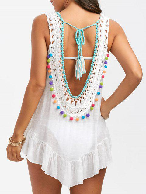Sleeveless Crochet Cover Up with Pompom - WHITE ONE SIZE