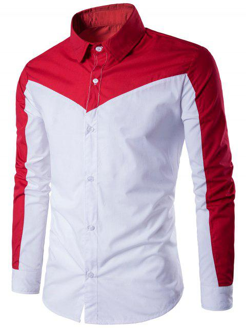Two Tone Long Sleeve Panel Shirt - RED/WHITE L
