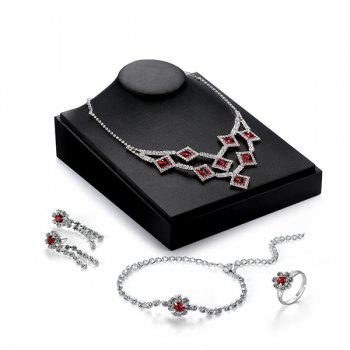 Geometric Faux Ruby Flower Jewelry Set