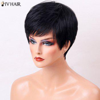 Siv Hair Side Bang Straight Human Hair Short Layered Cut Wig - JET BLACK