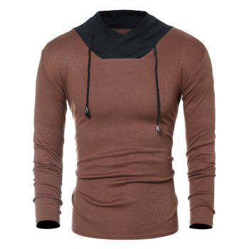Color Block Panel Long Sleeve Drawstring T-Shirt