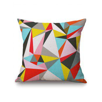 Linen Throw Pillowcase with Geometry Pattern