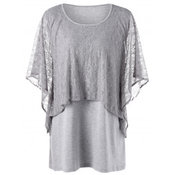 Plus Size Dolman Sleeve Mesh Panel Overlay Tee