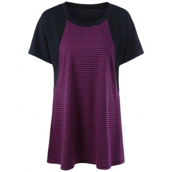Plus Size Stripe Raglan Sleeve T-Shirt