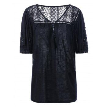 Plus Size Lace Crochet V Neck T-Shirt