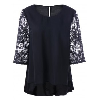 Buy Plus Size Embroidered Two Layered Chiffon Blouse BLACK