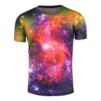 Crew Neck 3D Colorful Trippy Galaxy T-Shirt