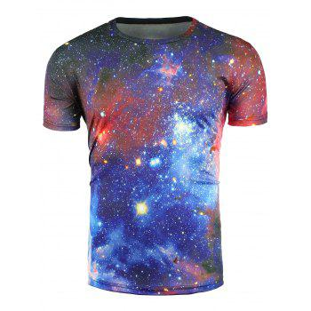 Crew Neck 3D Color Block Trippy Galaxy T-Shirt