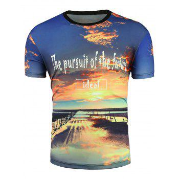 3D Sunshine and Cloud Print T-Shirt