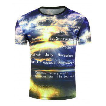 Short Sleeve 3D Sunshine Graphic Print T-Shirt