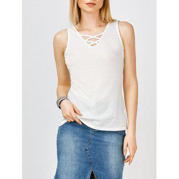 Criss Cross V Neck Tank Top