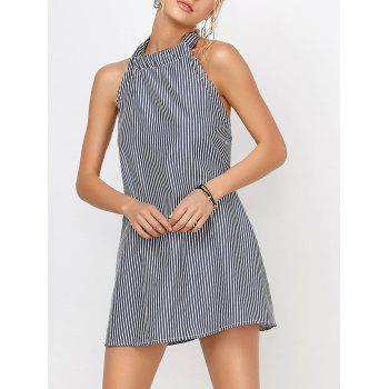 Halter Backless Casual Striped Tunic Dress
