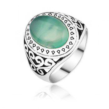 Faux Gemstone Engraved Heart Ring - SILVER 9