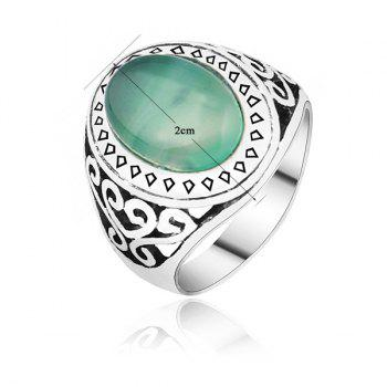 Faux Gemstone Engraved Heart Ring - SILVER SILVER