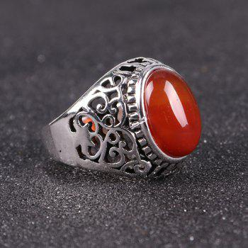 Vintage Faux Ruby Ring - SILVER 9