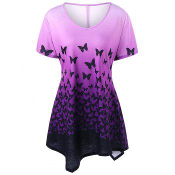 Plus Size Butterfly Ombre Asymmetric T-Shirt