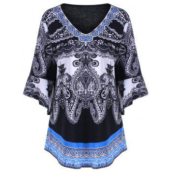 Buy Plus Size Paisley Bell Sleeve T-Shirt BLACK