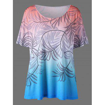 Plus Size Leaf Print Ombre T-Shirt