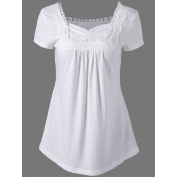 Sweetheart Neck Crochet Trim T-Shirt