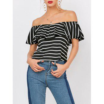 Off The Shoulder Flounce Striped Tee