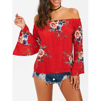 Flare Sleeve Off The Shouler Floral Blouse