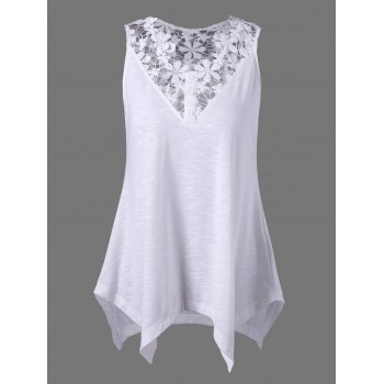 Openwork Crochet Trim Asymmetric Tank Top