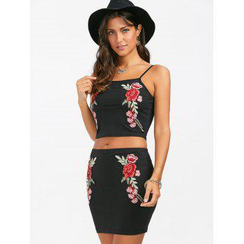 Embroidered Two Piece Mini Dress - BLACK BLACK