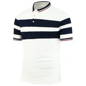 Striped Patchwork Polo Shirt