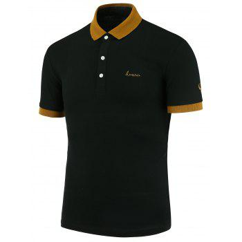 Embroidered Color Block Polo Shirt