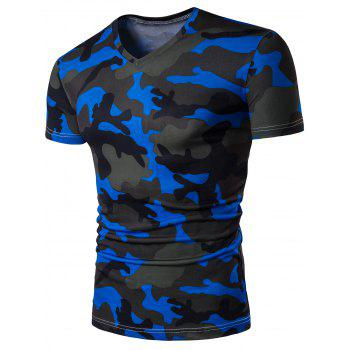 Short Sleeve V Neck Camo T Shirt