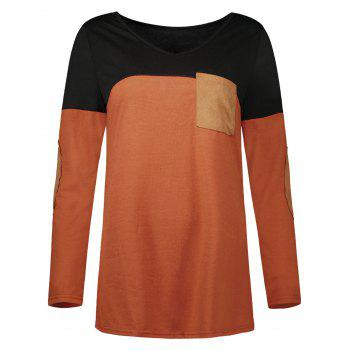 Color Block Elbow Patch Pocket Tee