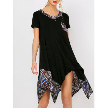 Print Panel V Neck Tunic Dress