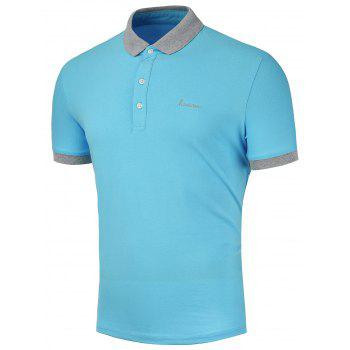 Embroidered Logo Ringer Cuff Polo Shirt