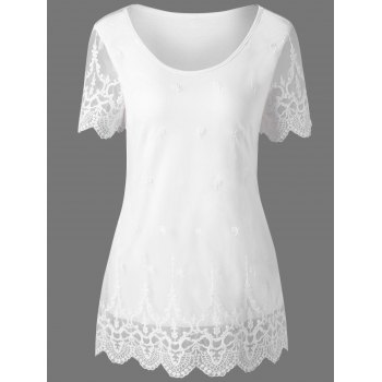 Lace Trim Scalloped Edge Long T-Shirt