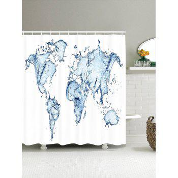 3D Spray World Map Pattern Shower Curtain