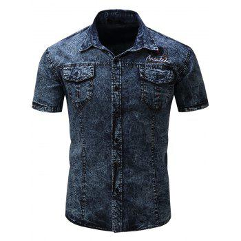 Badge Embroidered Pockets Short Sleeve Denim Shirt