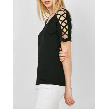 Criss Cross Cutout Shoulder T-Shirt