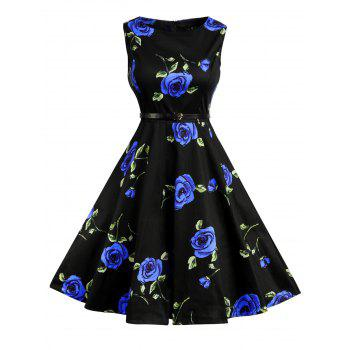 Floral Print Cotton Vintage Formal Dress