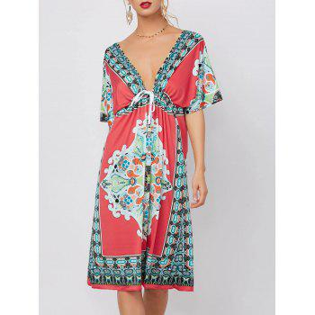Plunging Neckline Ethnic Print Mini Dress