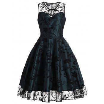 Homecoming Floral Tulle Tea Length Sleeveless Vintage Dress