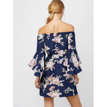 Off The Shoulder Floral Cocktail Dress - DEEP BLUE S