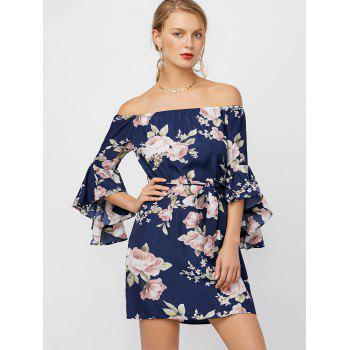 Off The Shoulder Floral Cocktail Dress - DEEP BLUE M