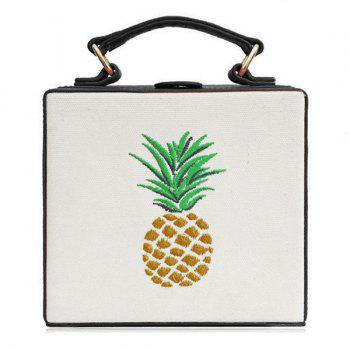 Pineapple Embroidered Canvas Panel Box Bag