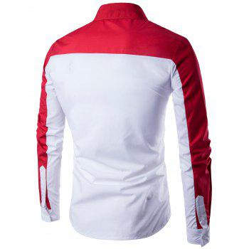 Two Tone Long Sleeve Panel Shirt - RED/WHITE XL