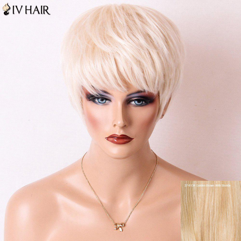 Siv Hair Short Layered Cut Straight Neat Bang Human Hair Wig - GOLDEN BROWN/BLONDE