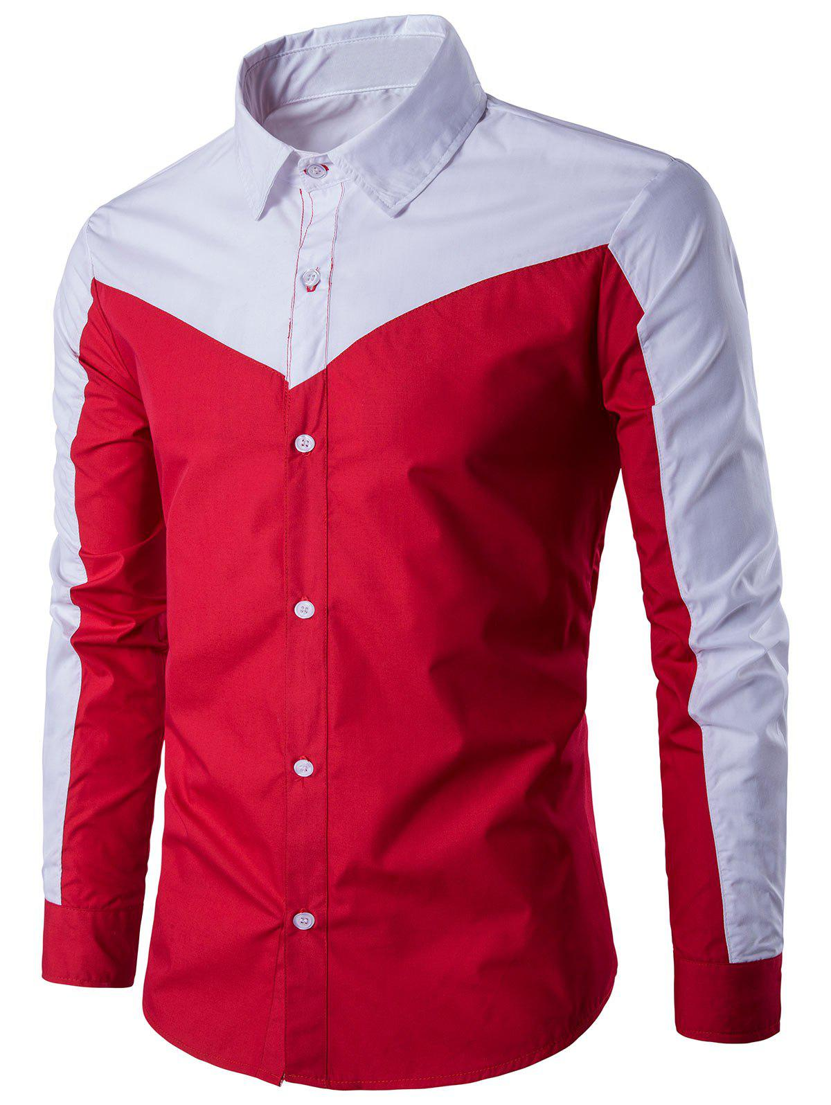 Two Tone Long Sleeve Panel Shirt - RED XL