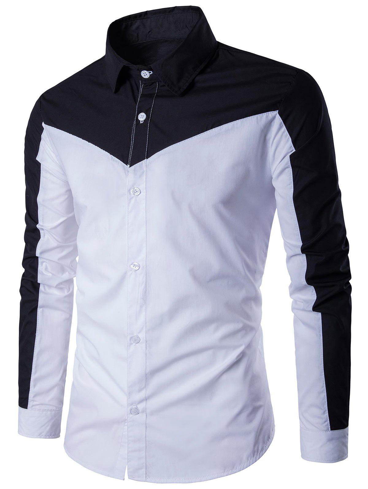 Two Tone Long Sleeve Panel Shirt - WHITE/BLACK 3XL