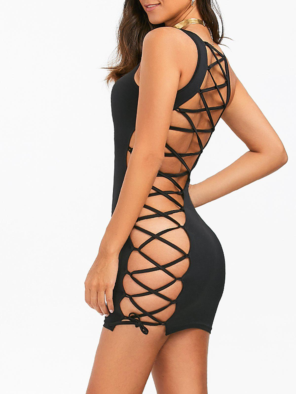 Lace-Up Open Back Bodycon Tank Dress - BLACK M