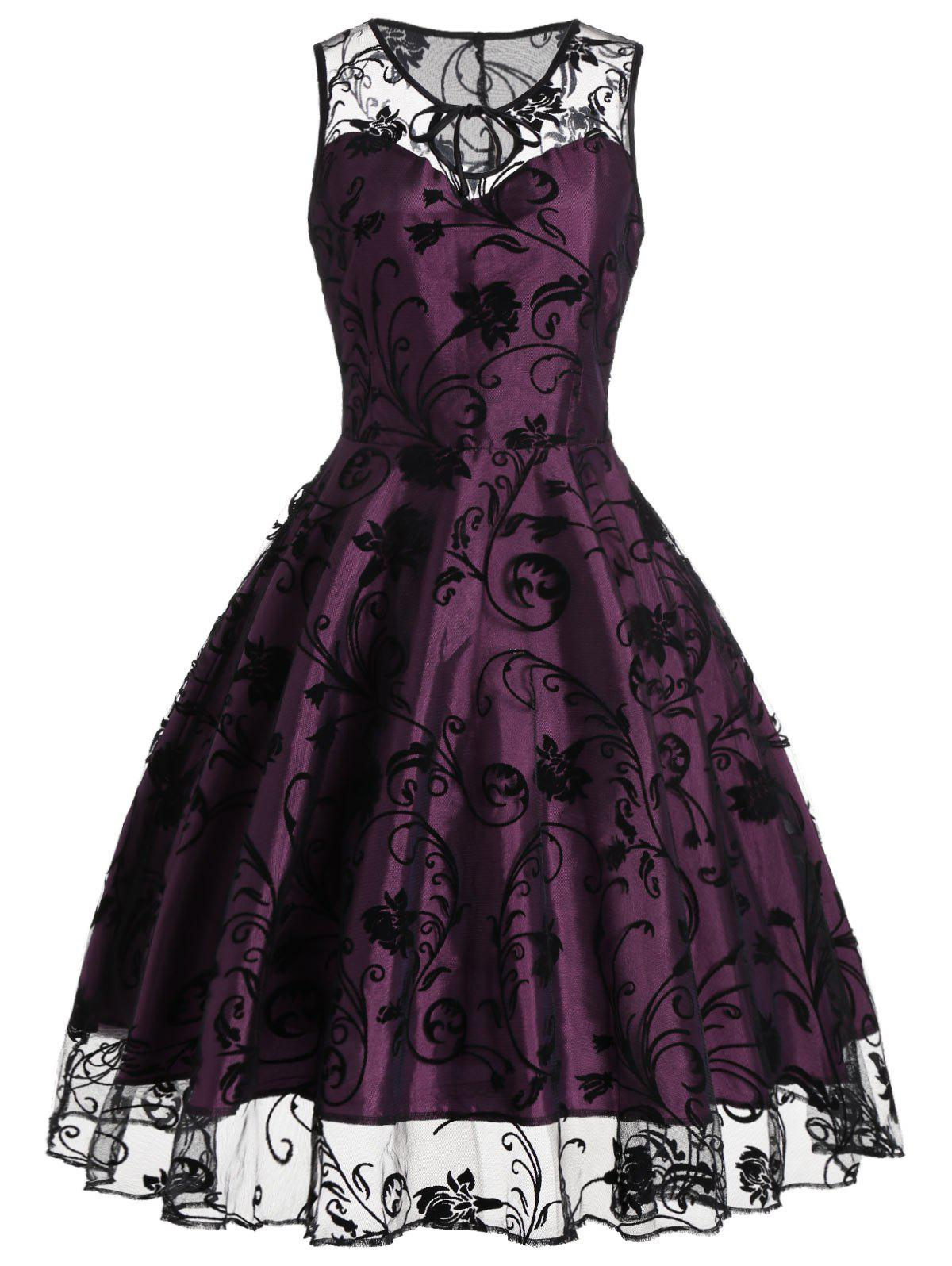 Homecoming Floral Tulle Tea Length Sleeveless Vintage Dress - PURPLISH RED 2XL